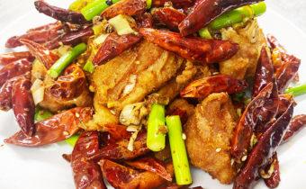 鶏肉の唐揚げと唐辛子炒め